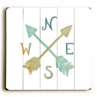 Colorful Compass - Wood Wall Decor by Jennifer Rizzo Design