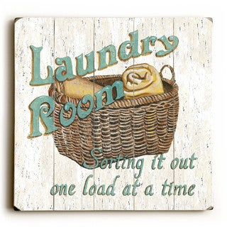 Laundry Room - Wood Wall Decor by Debbie DeWitt - Planked Wood Wall Decor (3 options available)