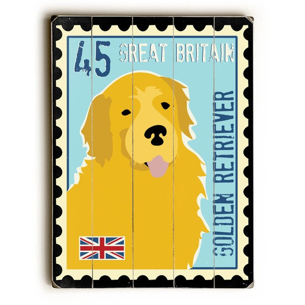 Golden Retriever Postage Stamp - Wall Decor by Ginger Oliphant