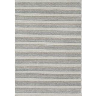 Hand-woven Poplin Grey/ Multi Wool Rug (7'10 x 11)
