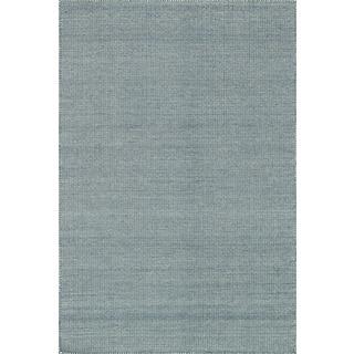 Hand-woven Poplin Navy Wool Rug (7'10 x 11)