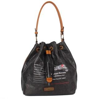 Nikky Envelope Design Print Black Vintage Hobo Bag