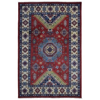 FineRugCollection Handmade Red/Blue Wool Pakistan Kazak Oriental Rug (6'7 x 9'10)
