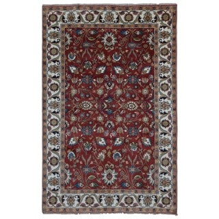 FineRugCollection Handmade Red & Beige Mahal Oriental Wool Area Rug (6' x 9')