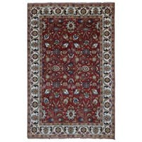 FineRugCollection Handmade Red & Beige Mahal Oriental Wool Area Rug (6' x 9')