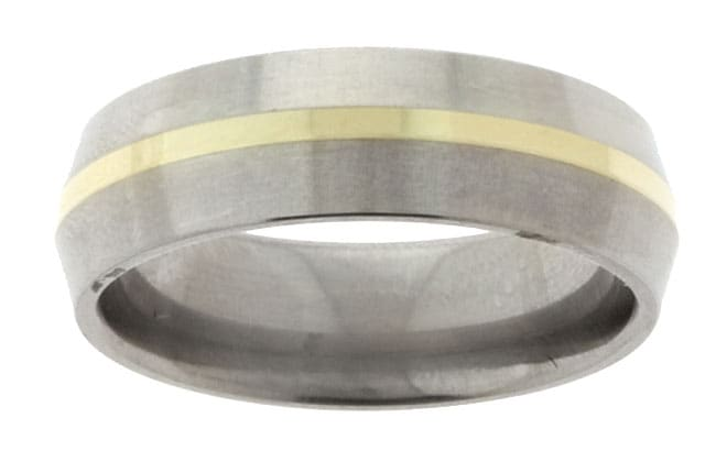 Men's Titanium and 14k Gold Beveled Band (6.8 mm)