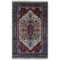 Fine Rug Collection Handmade Navy Serapi Oriental Rug