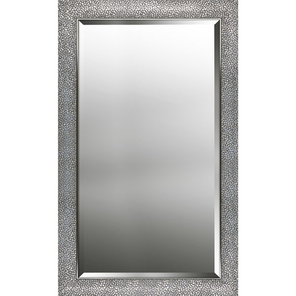 25.25X41.25 inch Hexagon Pattern Silver Finish Beveled Wall Mirror Vanity Hallway Bathroom Bedroom Rectangle Large Mirrors
