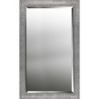 Hexagon pattern silver finish beveled wall mirror 25.25X41.25X0.63