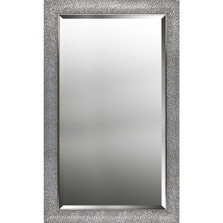 Hexagon Pattern Silver Finish Beveled Wall Mirror