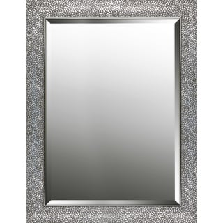 Hexagon pattern silver finish beveled wall mirror 25.25X33.25X0.63