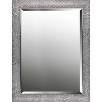 Hexagon pattern silver finish beveled wall mirror 25.25X33.25X0.63