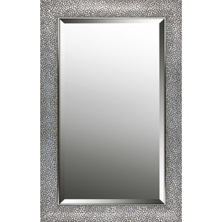 Hexagon pattern silver finish beveled wall mirror 21.25X33.25X0.63