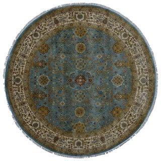 FineRugCollection Tabriz Oriental Blue/Gold Wool Handmade Very Fine Round Rug (7'2 x 7'2)