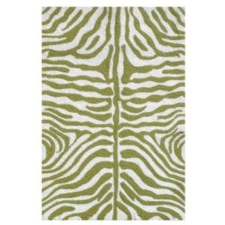 The Rug Market Zebra Green Acrylic Area Rug (8' x 10')