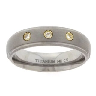 Men's Gold Titanium 14k 1/10ct TDW Round Diamond Band