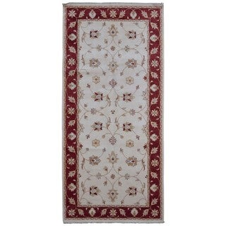 FineRugCollection Beige/Red Wool Handmade Fine Peshawar Oriental Runner (4'9 x 10'2)