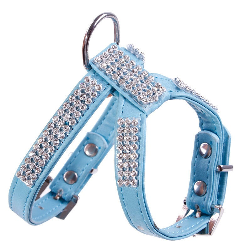 Coutlet Leather Rhinestones Harness and Collar Set Crysta...