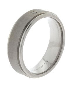 Men's Titanium Diamond Wedding Band (6.8 mm) - Thumbnail 1