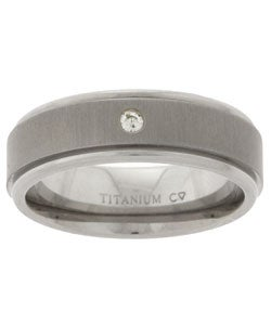 Men's Titanium Diamond Wedding Band (6.8 mm)