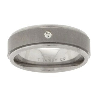 Men's Titanium Diamond Wedding Band (6.8 mm) (2 options available)