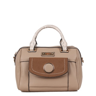 Nikky Croc Trim Beige Detachable Strap Mini Boston Handbag