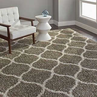 Safavieh Hudson Diamond Shag Ivory Background and Grey Rug (8' x 10')