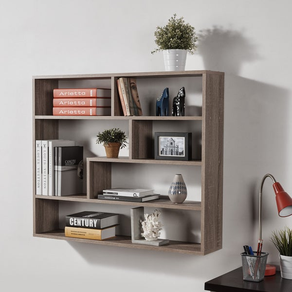 2650448d4f Shop Danya B. Large Rectangular Shelf Unit - Weathered Oak - Free Shipping  Today - Overstock - 16768035