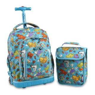 J World Lollipop Aniphabets Rolling Backpack and Lunch Bag Set