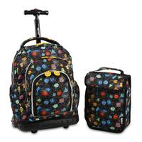 J World Lollipop Party Mobs Rolling Backpack and Lunch Bag Set