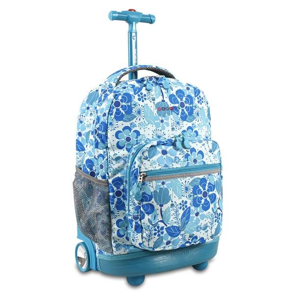 J World New York Sunrise Blue Vine Rolling Carry On Backpack