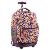 J World New York Sunrise Funky Rolling Carry On Backpack