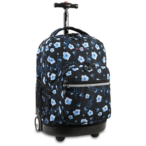 J World New York Sunrise Night Bloom Rolling Carry On Backpack