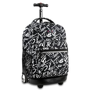 J World New York Sunrise Script Rolling Carry On Backpack