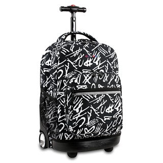 J World New York Sunrise Script Rolling Carry On Backpack