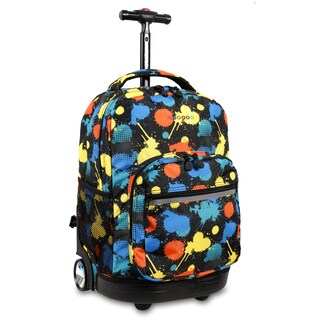 J World New York Sunrise Splatter Rolling Carry On Backpack