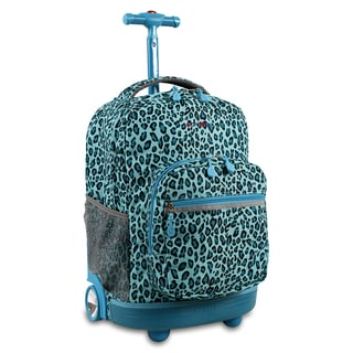 J World New York Sunrise Mint Leopard Rolling Carry On Backpack
