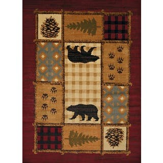 Harmony Bear Mosaic Multi Lodge Area Rug (5'3 x 7'2)|https://ak1.ostkcdn.com/images/products/16771947/P23080174.jpg?impolicy=medium