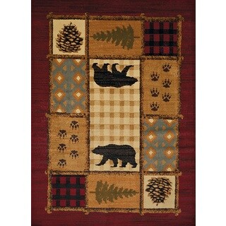 Harmony Bear Mosaic Multi Lodge Area Rug (5'3 x 7'2)