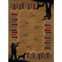 Harmony Bird Hunt Gold Area Rug - 5'3 x 7'2