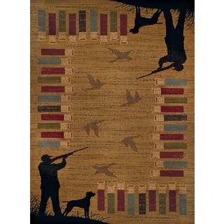 Harmony Bird Hunt Gold Area Rug (5'3 x 7'2) - 5'3 x 7'2