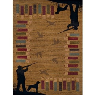 Harmony Bird Hunt Gold Runner Rug (1'10 x 7'2) (Option: Gold)