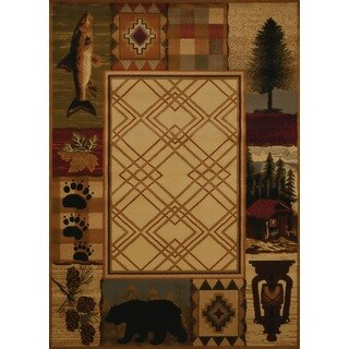 Harmony Evergreen Lake Natural Lodge Area Rug (7'10 x 10'6)