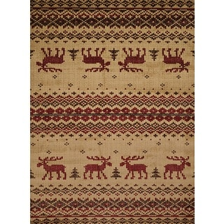Harmony Walking Moose Natural Lodge Runner Rug (1'10 x 7'2)