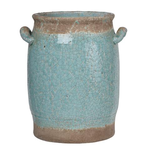 """10x8x12"""" Candia Ceramic Vase,Pale Turquoise"""
