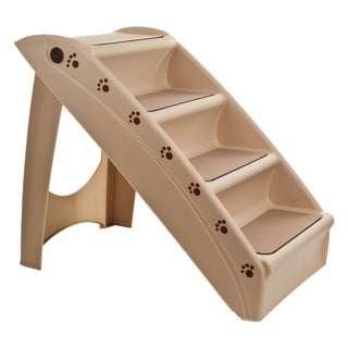 Petmaker Folding Indoor or Outdoor 4-Step Pet Stairs (Option: Folding Plastic Pet Stairs 4 Step Tan)