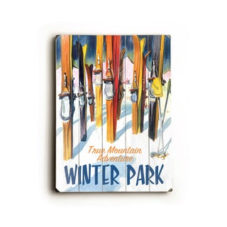 Winter Park with Skiis - Wood Wall Decor by Posters Please