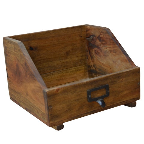 Brown Recycled Wood 9.5-inch x 8.5-inch x 6.5-inch Book Box