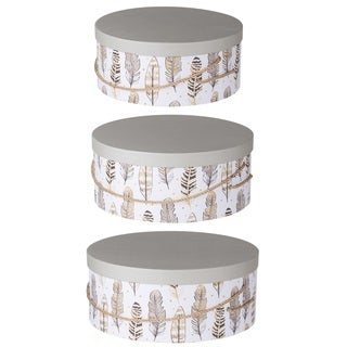 Albany Round Paper Hat Boxes With Feather Motif (Set of 3)