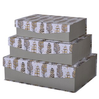 S/3 Albany Handmade Paper Storage Box With Feather Motif